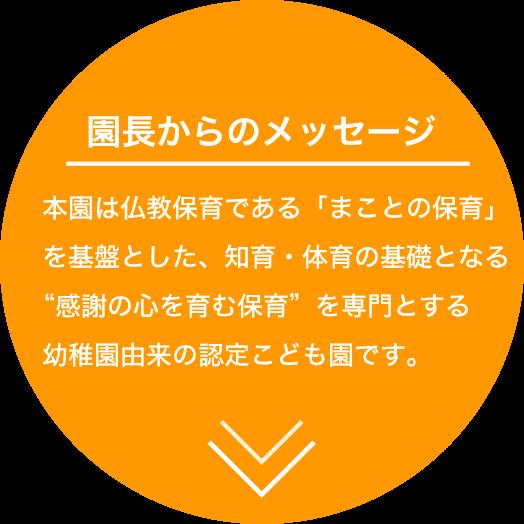 園長からのメッセージ 本園は仏教保育である「まことの保育」を基盤とした、知育・体育の基礎となる感謝の心を育む保育を専門とする幼稚園由来の認定こども園です。